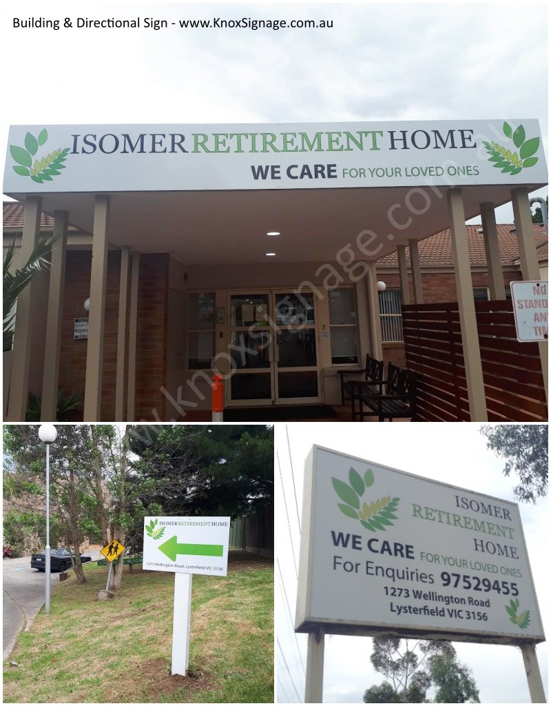 Building & Directional Sign - Isomer Retirement Home